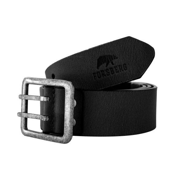 FORSBERG Ledergürtel schwarz mit Doppeldorn Schnalle aus Metall